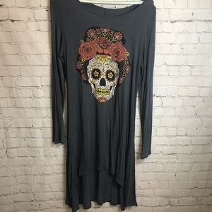 Color Bear Sugar Skull Long Shirt Size Large